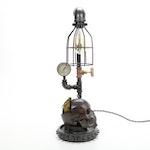Industrial Machinist Style Steampunk Skull Lamp