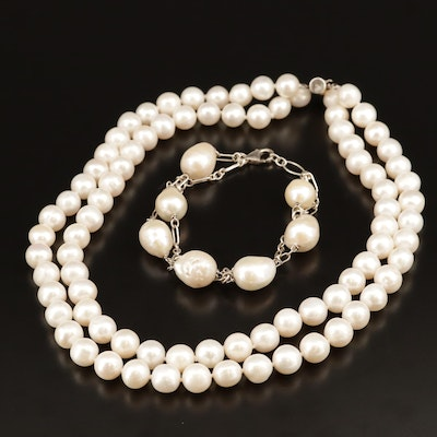 Sterling Silver Double Strand Pearl Necklace and Bracelet