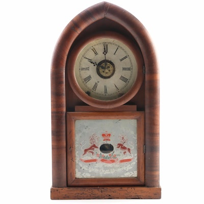 Ansonia Walnut Beehive Mantle Clock with Heraldic Glass Door, Late 19th Century