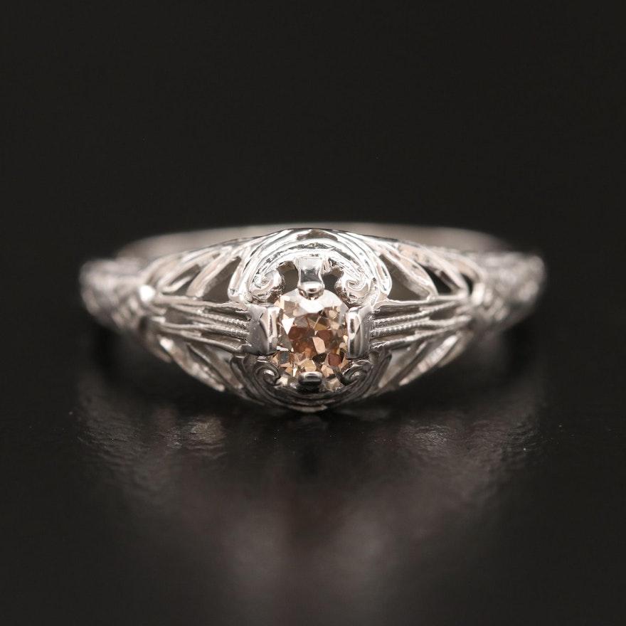 Edwardian 18K Diamond Openwork Ring