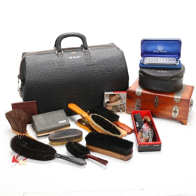 Zip-O-Grip Embossed Doctor's Satchel and Men's Grooming Tools