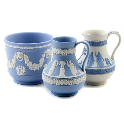 Wedgwood Blue and Cream Jasperware Jardinière and Etruscan Jugs
