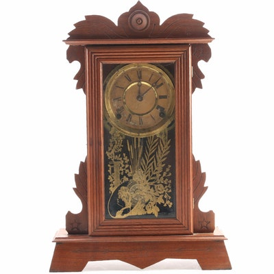Terry Clock Co. Mantel Clock with Stenciled Glass Door, Late 19th Century