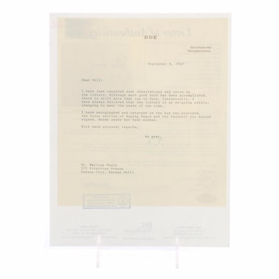 Dwight Eisenhower Signed Typed Letter From Gettysburg, PA  COA