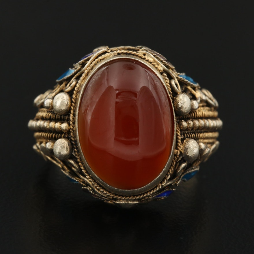 Sterling Silver Carnelian and Enamel Ring with Adjustable Open Shank