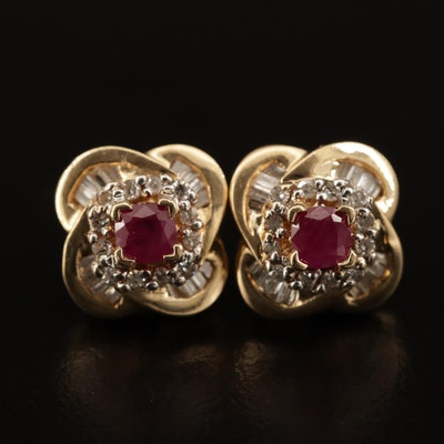 14K Ruby and Diamond Quatrefoil Earrings