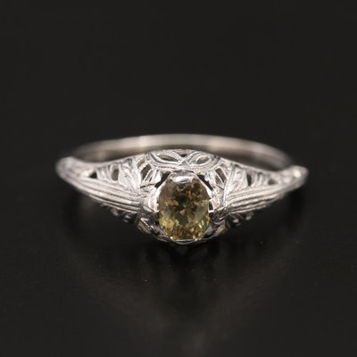 Antique 14K Alexandrite Ring with Openwork Design