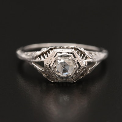Edwardian 18K Diamond Openwork Ring