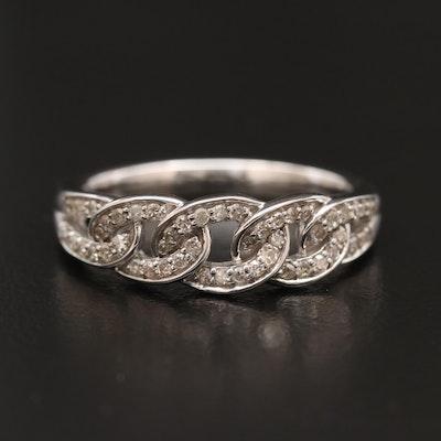 10K Diamond Curb Link Ring