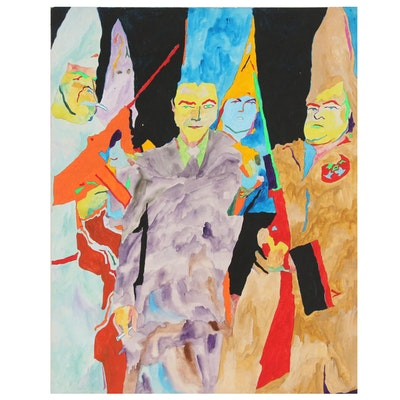 Robert W. Hasselhoff Mixed Media Painting of Figural Scene