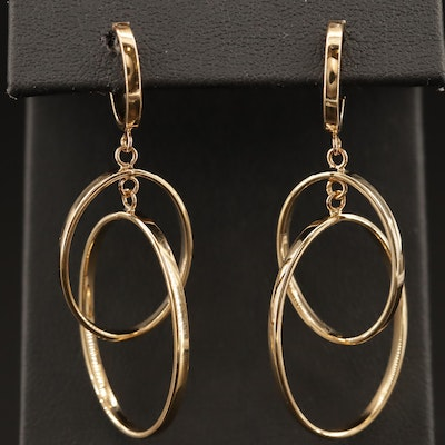 14K Oval Link Dangle Earrings