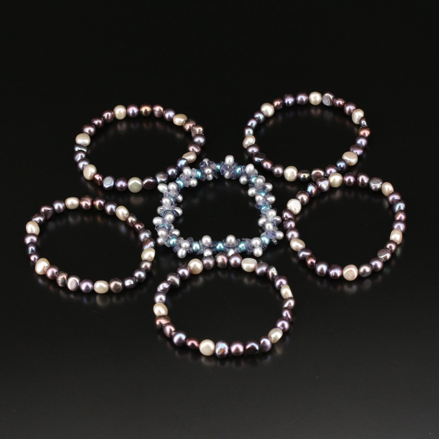 Amethyst and Pearl Expandable Bracelets