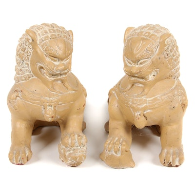 Painted Cement Pair of Chinese Guardian Lions