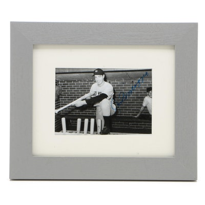 Joe DiMaggio Signed New York Yankees Photograph with PSA/DNA Full Letter