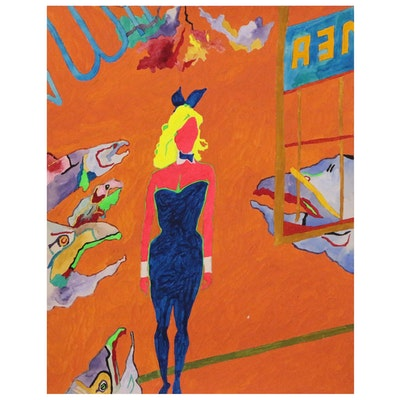 Robert W. Hasselhoff Abstract Mixed Media Painting of Female Figure