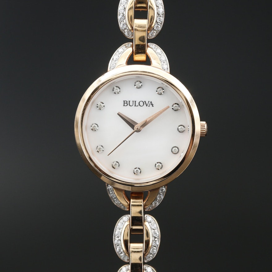 Bulova Crystal Accents Stainless Steel Wristwatch With Mother of Pearl