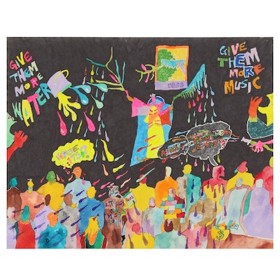 Robert W. Hasselhoff Mixed Media Painting of Abstract Scene