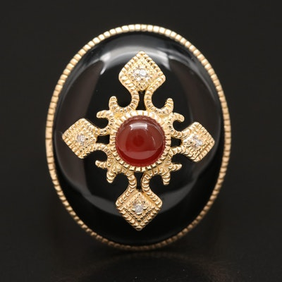 18K Black Onyx Ring with Carnelian and Diamond Cross Motif