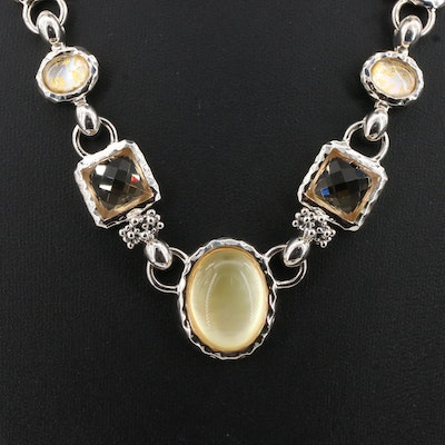 Michael Dawkins Sterling Silver Citrine, Mother of Pearl and Quartz Necklace