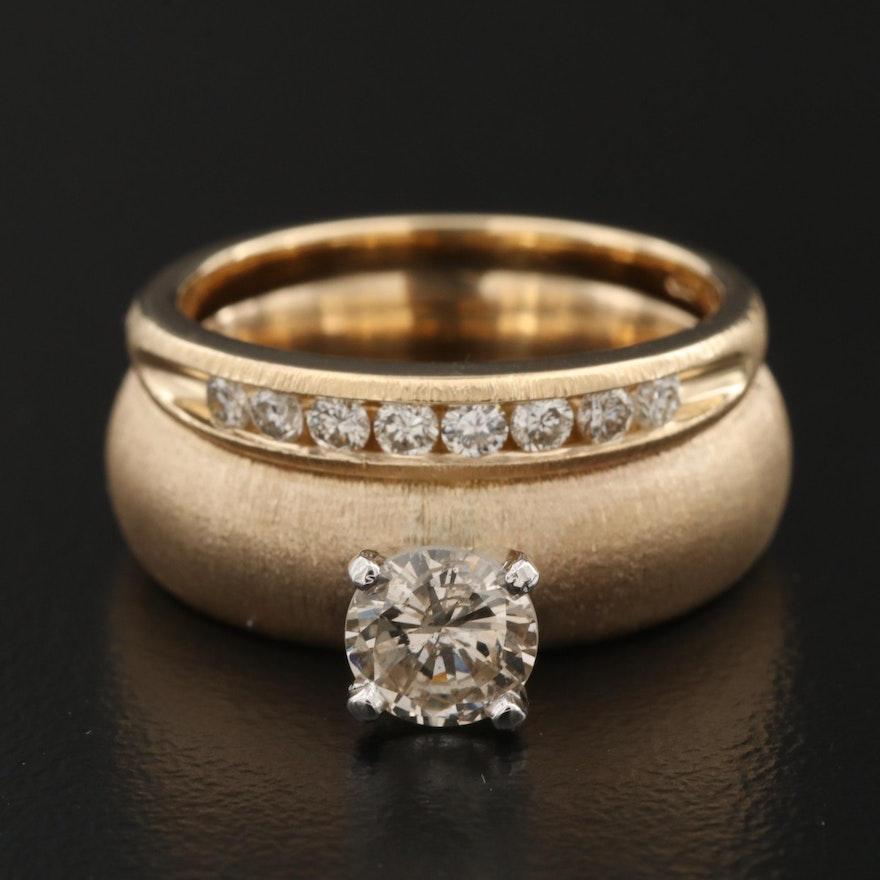 14K Gold 0.97 CTW Diamond Ring with Brushed Finish