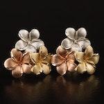14K Tri-Gold Plumeria Earrings