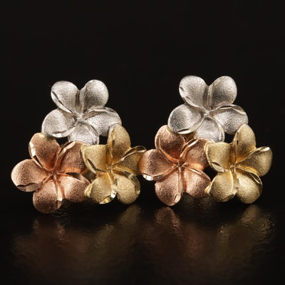 14K Tri-Gold Plumeria Earrings