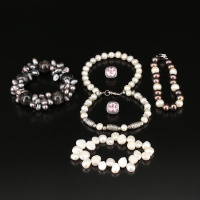 Assorted Jewelry Including Hawk's Eye Quartz, Pearl and Cubic Zirconia