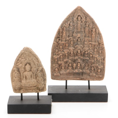 Carved Stone Buddha with Bodhisattvas on Stands