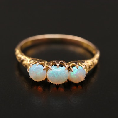 Victorian 10K Opal Three Stone Ring with Scrollwork Shoulders