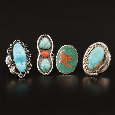 Western Sterling Rings with Turquoise and Coral