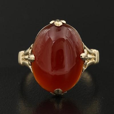 10K Carnelian Cabochon Ring