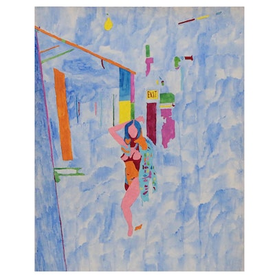 Robert W. Hasselhoff Mixed Media Painting of Abstract Figure