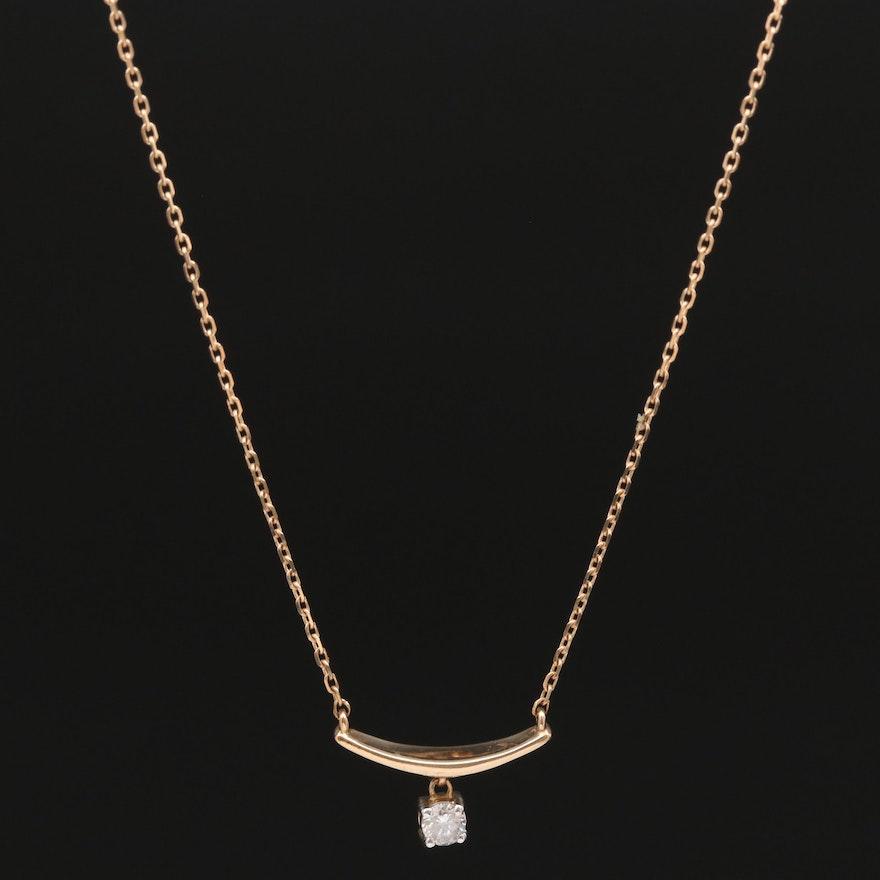 10K Diamond Solitaire Necklace