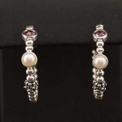 Michael Dawkins Sterling Silver Pearl and Garnet Hoop Earrings