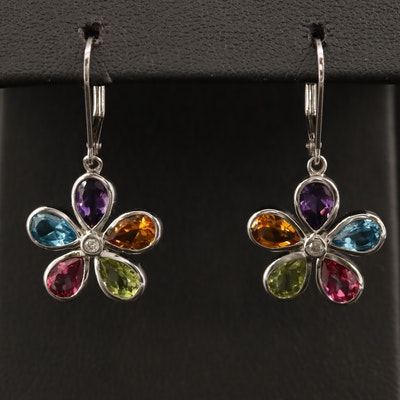 Sterling Topaz, Amethyst, Citrine and Peridot Floral Dangle Earrings