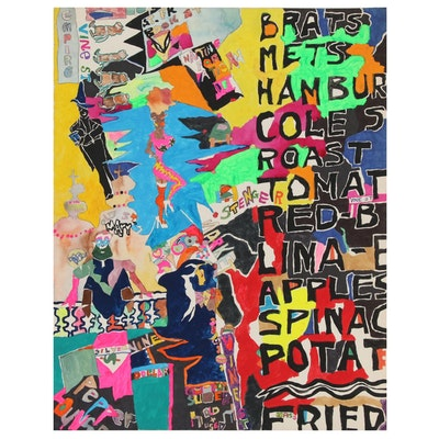 Robert W. Hasselhoff Folk Mixed Media Painting, Late 20th Century