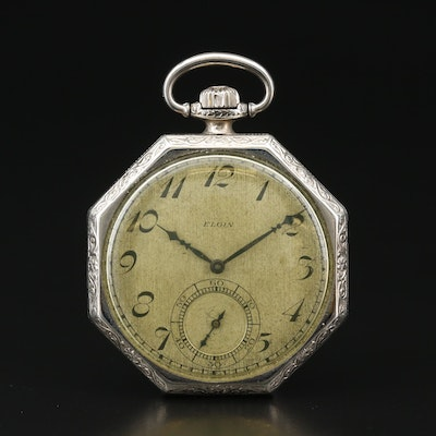 1927 Elgin Gold Filled Octagonal Open Face Pocket Watch