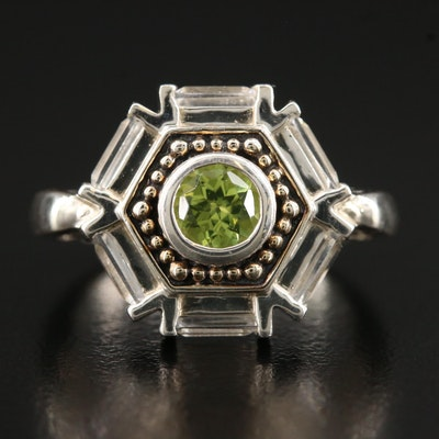 Sterling Silver Peridot and Topaz Hexagonal Ring