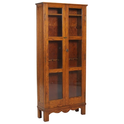 American Oak Gun Display Cabinet, Early 20th Century