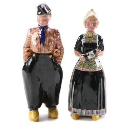 Bols Hand-Painted Figural Liquor Decanters in Traditional Dutch Clothing