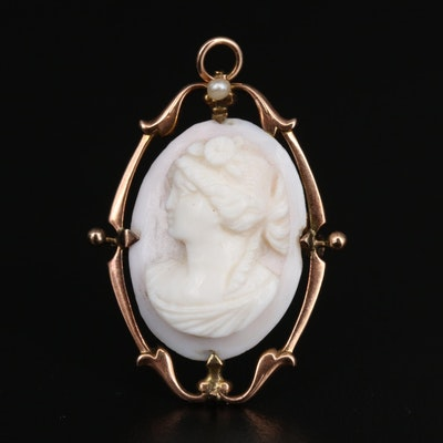 Early 1900s 10K Conch Shell and Seed Pearl Cameo Converter Brooch