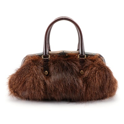 Gucci Bamboo Nutria Fur Baguette Top Handle Bag