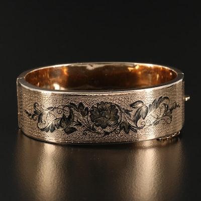 Victorian Taille d epargne 14K Gold Floral Pattern Bracelet
