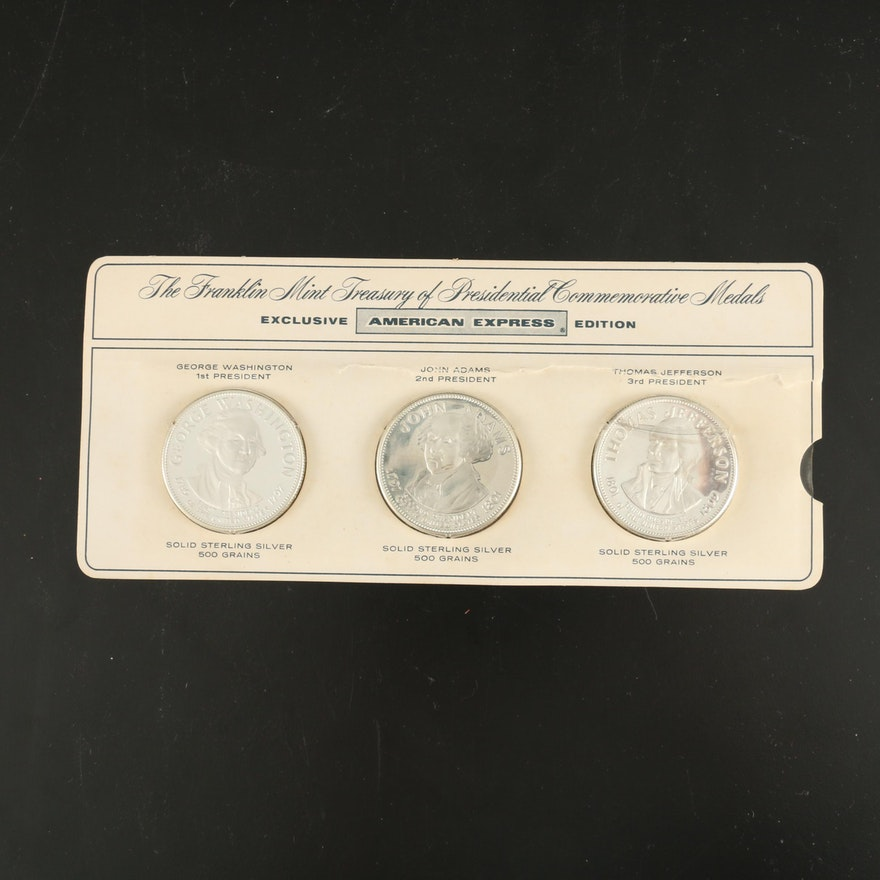 The Franklin Mint Sterling Silver Presidential Commemorative Medals