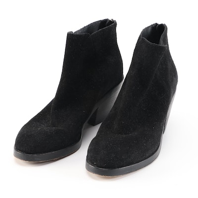 Eileen Fisher Black Suede Block Heel Ankle Boots