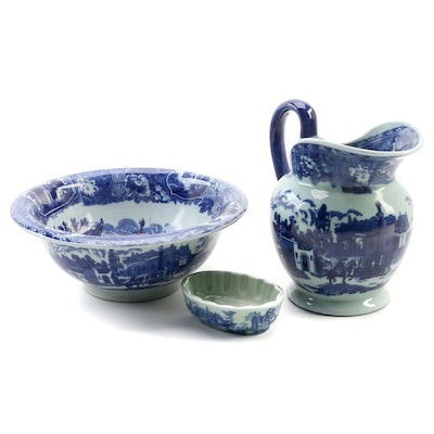 Reproduction Flow Blue Blue Ewer and Basin With Matching Soap Dish