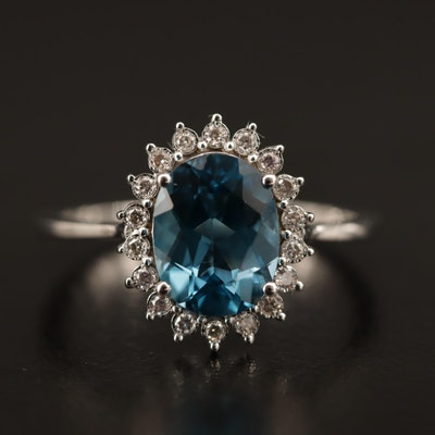 "14K ""London Blue"" Topaz Halo Ring"