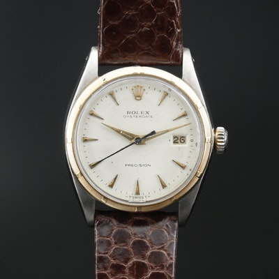"1964 Rolex ""Oysterdate"" 14K and Stainless Steel Stem Wind Wristwatch"