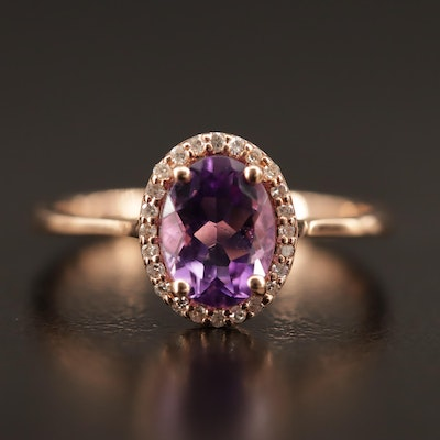 14K Rose Gold Amethyst and Diamond Halo Ring