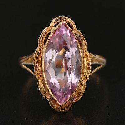 Vintage 18K Gold Pink Sapphire Ring